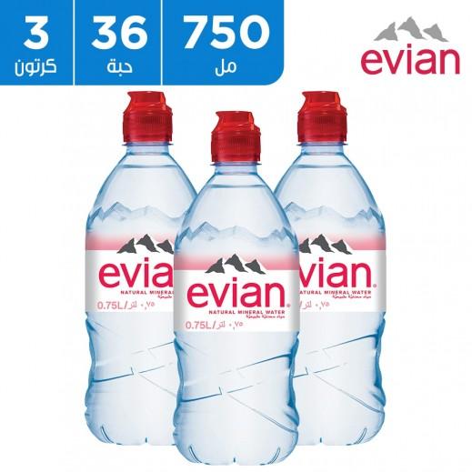 إفيان – مياه معدنية طبيعية سبورت كاب 36 × 750 مل