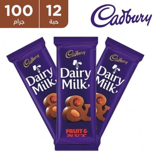 كادبوري - شوكولاته حليب بالمكسرات والفاكهة 12×100 جرام