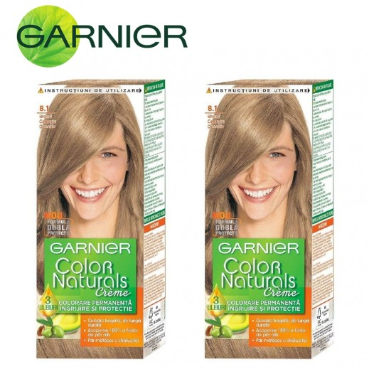 غارنييه - صبغة كريم كولور ناتشرلز دائمة للشعر - لون 8.1 أشقر رمادي فاتح - (2 حبة)