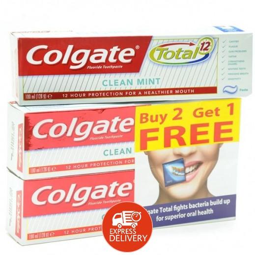 كولجيت – معجون أسنان توتال 12 برو للتبييض 100 مل (2+1 مجاناً)