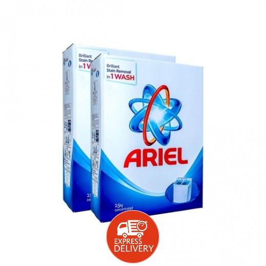 """آريال – مسحوق الغسيل الأزرق للغسالات العادية """" عطر أصلي """" 2×2.5 كجم"""