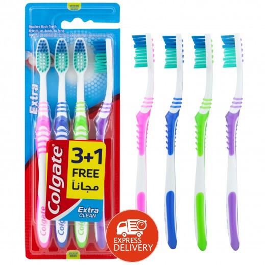 """كولجيت - فرشاة تنظيف الأسنان """" إكسترا كلين"""" حجم متوسط (2+1 مجانا) عرض خاص"""