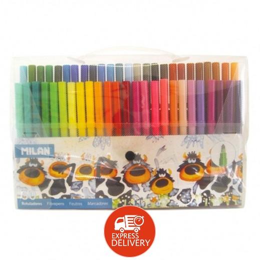 ميلان – طقم أقلام ألوان برأس مخروطي فايبر 50 حبة