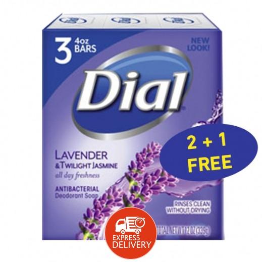 دايل – دايل – صابون معطر ومضاد للبكتيريا باللافندر والياسمين 113 جم (2+1 مجاناّ) عرض خاص