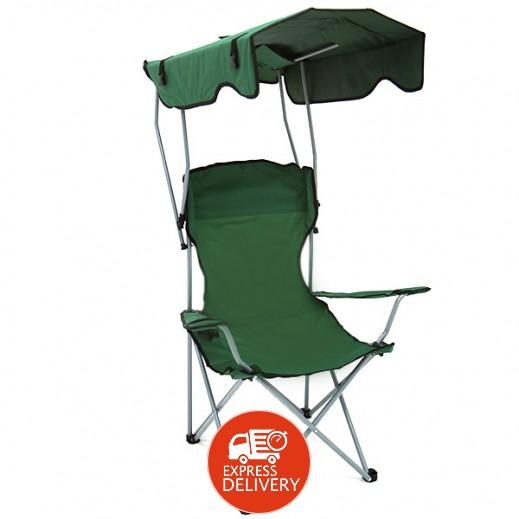 كرسي قابل للطي بمظلة شمسية - أخضر