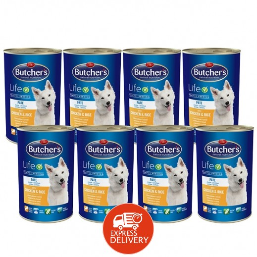 بوتشرز ناتشرال نوترشن – طعام الكلاب بالدجاج والأرز 8×390 جم
