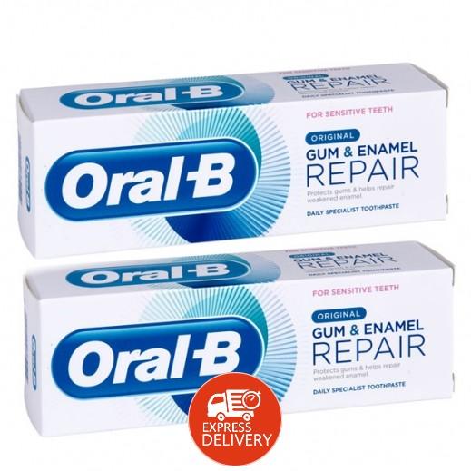 أورال بي – معجون ترميم اللثة ومينا الأسنان الأصلي 2×75 مل