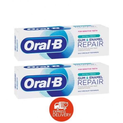 أورال بي – معجون ترميم اللثة ومينا الأسنان انتعاش اضافي 2×75 مل
