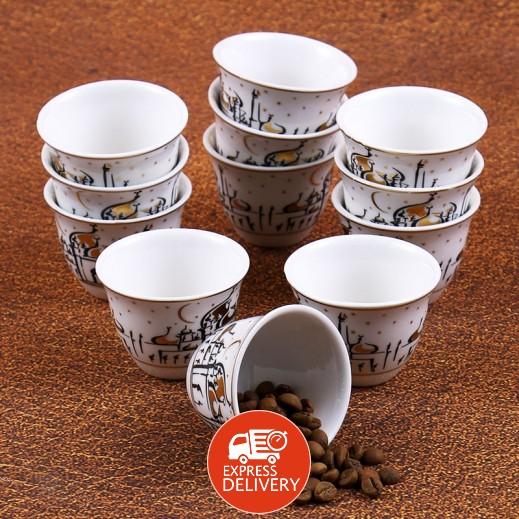 طقم قهوة سيراميك 12 قطعة - أسود وذهبي بتصميم المسجد