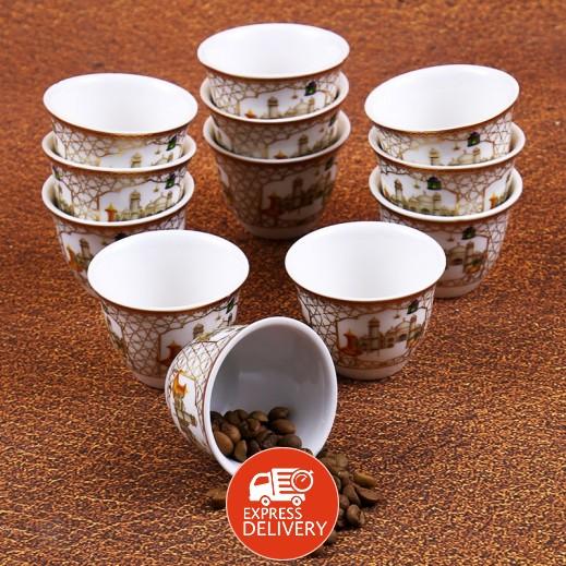 طقم قهوة سيراميك 12 قطعة - بتصميم المسجد