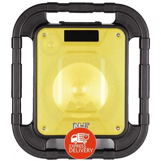 إن إتش إي – مكبر صوت لاسلكي قابل للشحن مع إضاءة LED بقوة 150 واط – أسود