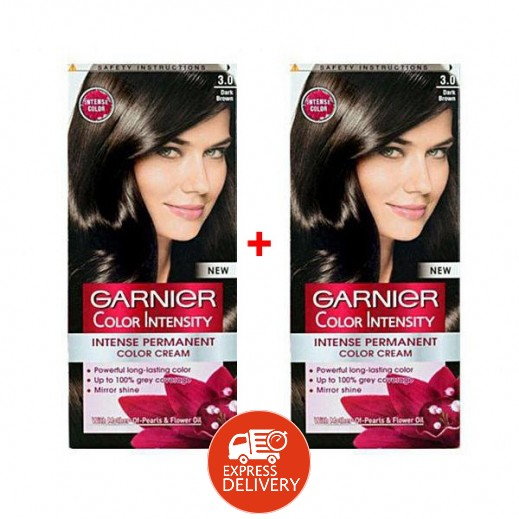 غارنييه - صبغة Color Intensity الدائمة للشعر رقم 3.0 لون بني قاتم (1+1 مجانا)