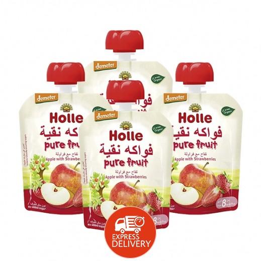 هولي - فواكه عضوية نقية تفاح مع فراولة 360 جم ( من عمر 8 أشهر)