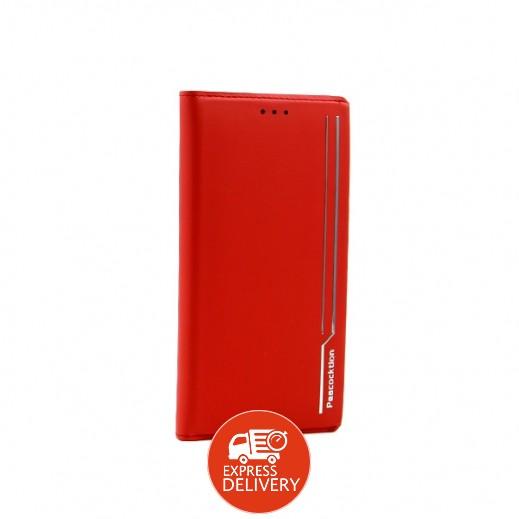 بيكوكتيون – غطاء جلد قابل للطي لآيفون X / XS – احمر