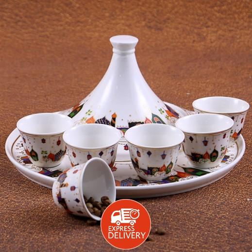 طقم فناجين قهوة سيراميك مع صينية للتمر - 8 قطعة