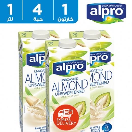 ألبرو – مشروب صويا باللوز غير المحمص خالي من السكر 4 × 1 لتر