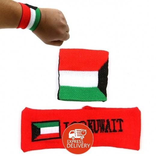 """ربطة رأس ويد """"باندانا"""" من القماش على شكل علم الكويت"""