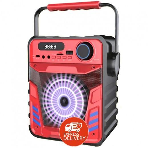 إن إتش إي – مكبر صوت لاسلكي قابل للشحن مع إضاءة LED – أحمر
