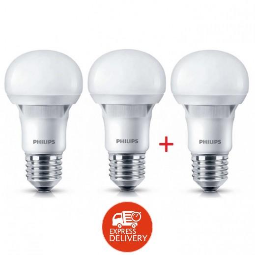 فيلبس - لمبة ES LED لون اصفر 3000K E27 بقوة 8 واط – عرض 2 + 1 مجانآ