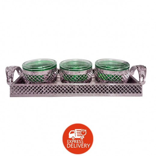 فولفو – طقم أوعية مع صينية تقديم (ألوان متعددة) - 3 حبة