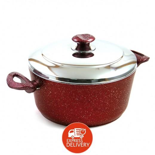 فيندا – وعاء طهي جرانيت وغطاء ستانليس ستيل 24 سم - أحمر