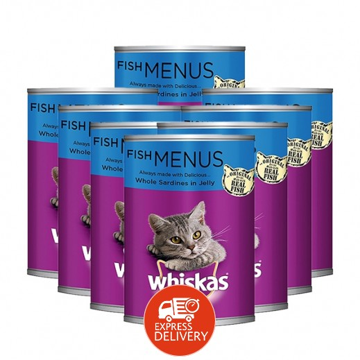 ويسكاس - وجبة سمك للقطط البالغة (سردين كامل فى جيلى) 400 جم (8 حبة)