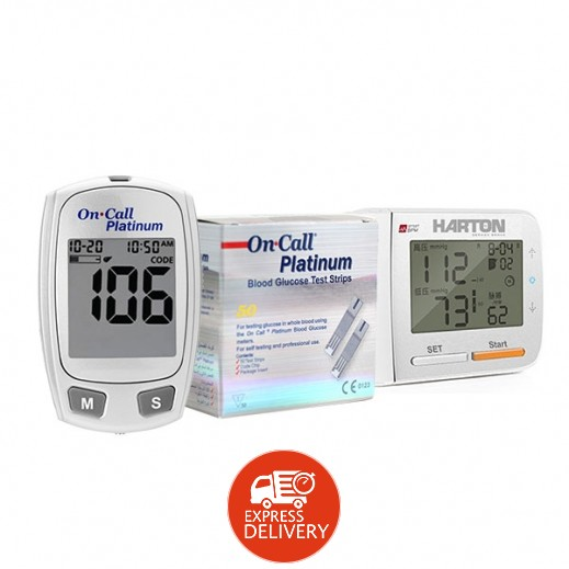 هارتون - جهاز قياس ضغط الدم من الرسغ موديل YE8900 + جهاز قياس ضغط الدم بلاتنيوم من أون كول + 50 شريحة قياس