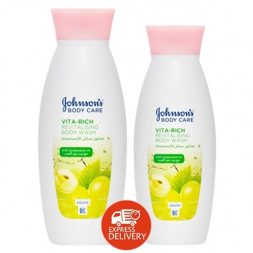 جونسون - صابون سائل للإستحمام مع زيت بذور العنب 400 مل + 250 مل مجاناً