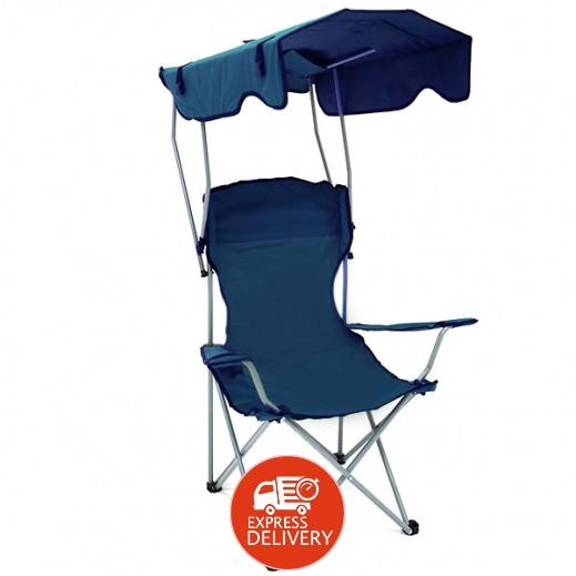 كرسي قابل للطي بمظلة شمسية - أزرق