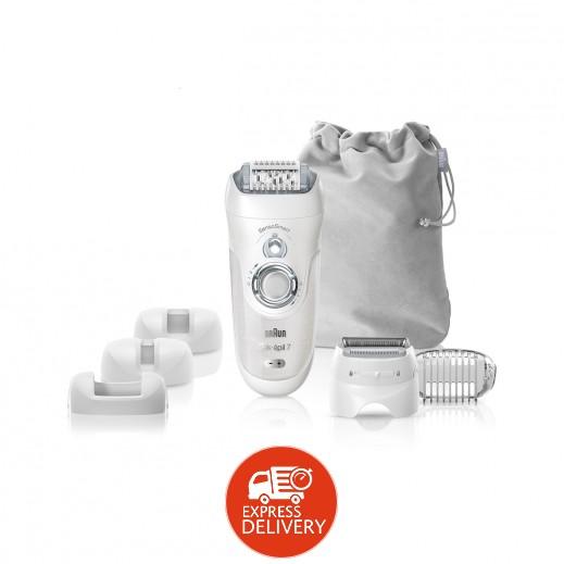 براون – ماكينة إزالة الشعر سيلك إبيل 7 الرطبة والجافة مع 7 ملحقات إضافية - فضي (موديل SE7-880)