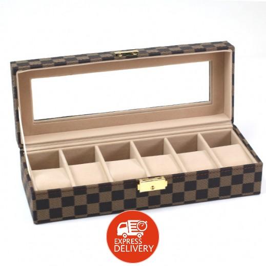 تايمز - صندوق جلد بني منظم للساعات والاكسسوارات 6 خانة