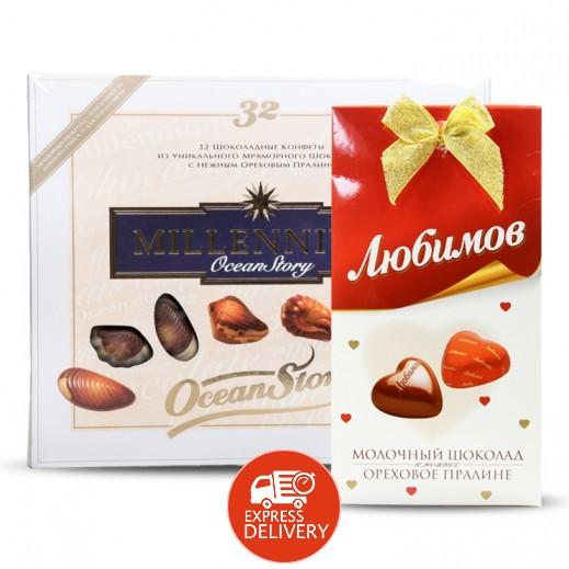 شوكولاته حلوى ميلينيوم قصة المحيط بحشوة البرالين 340 جرام +شوكولاته لوبيموف بحشوة مكسرات 100 جرام