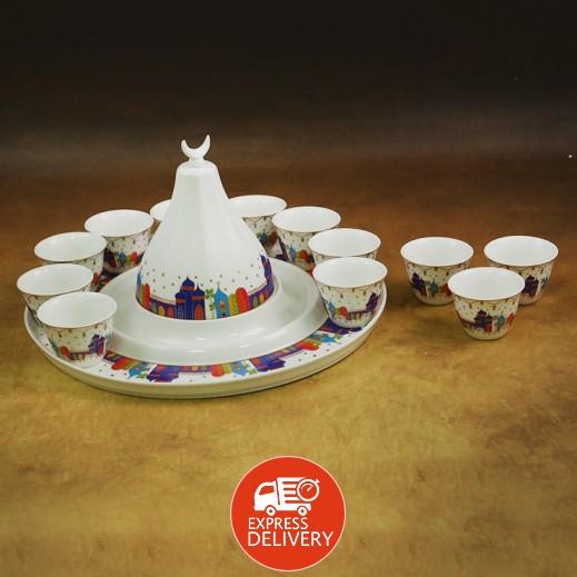 طقم فناجين قهوة سيراميك مع صينية للتمر - 14 قطعة