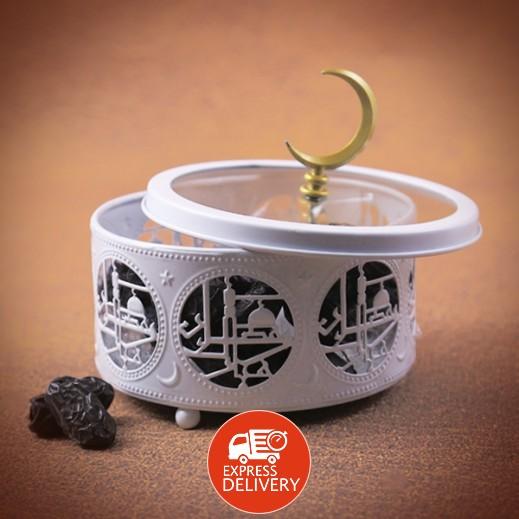 عنابي - صندوق الحلوى بغطاء زجاجي – أبيض