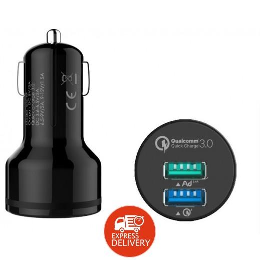 جوي – شاحن سيارة ثنائي USB بقوة 3 أمبير – أسود