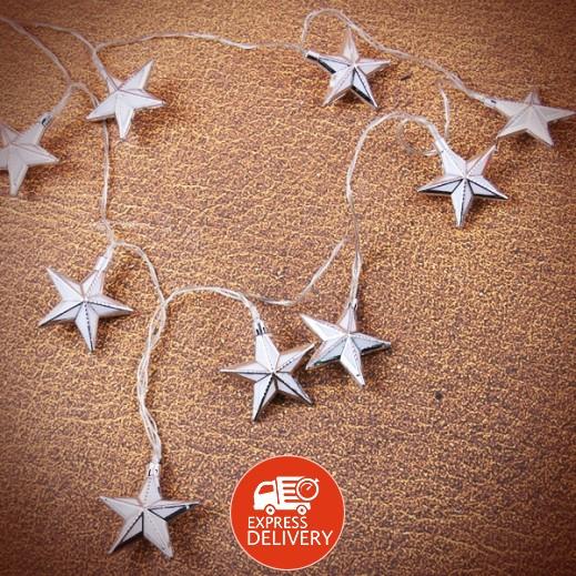 عنابي - ديكورات رمضانية مضيئة بتصميم النجمه - فضي وأبيض