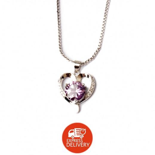 هومهل – قلادة بلاتينيوم مطلية بالفضة الخالصة يتدلى منها قلب متميز