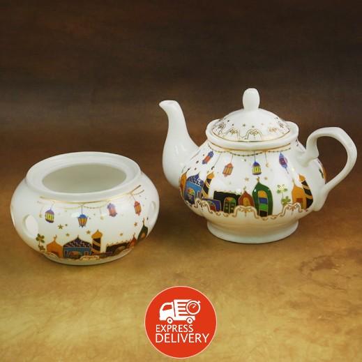 إبريق شاي سيراميك مع حامل - 2 حبة