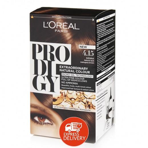 """لوريل باريس – صبغة شعر """"Prodigy"""" الطبيعية رقم 4.15 لون بني غامق"""