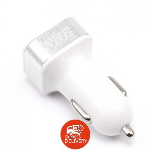 إن إتش إي – شاحن سيارة USB ثنائي بقوة 4.2 أمبير للهواتف الذكية والتابلت – أبيض وفضي