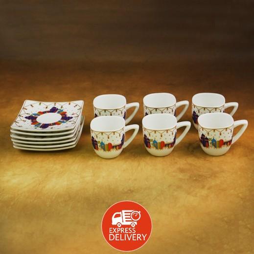 طقم فناجين قهوة سيراميك مع طبق - 12 قطعة