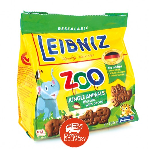 لايبنيز زو – بسكويت جنغل بالكاكاو على شكل حيوانات للأطفال 100 جم