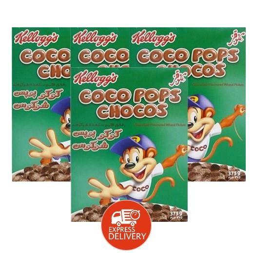 """كلوقز – حبوب إفطار القمح المقرمشة بنكهة الشوكولاتة """" كوكوبوبس شوكوس """" 375 جم × 4 حبة - عرض التوفير"""