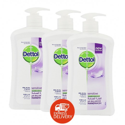 ديتول – غسول اليدين للبشرة الحساسة  (3 حبة × 400 مل) - أسعار الجملة