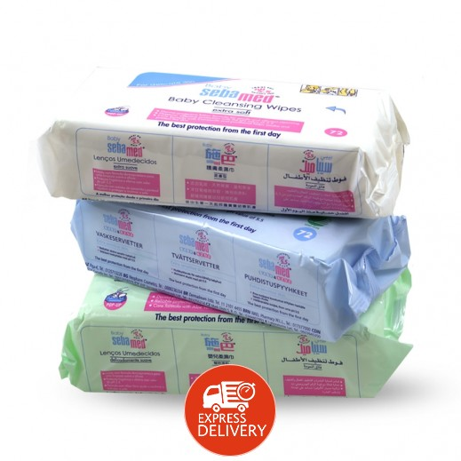 Sebamed Baby Wipes Assorted 3 x 72 Pieces