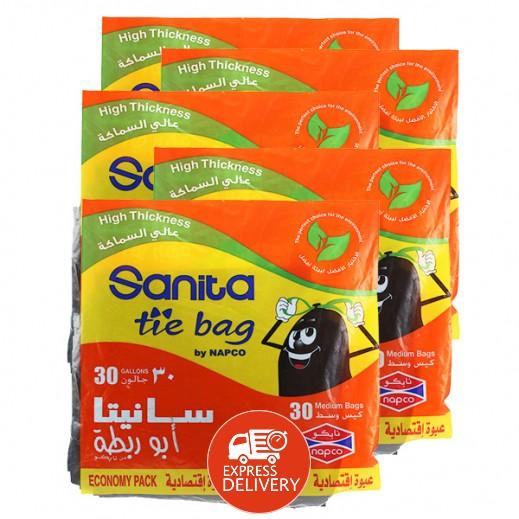 سانيتا – أكياس نفاية أبو رابطة متوسطة الحجم 30 جالون ( 30 حبة × 5) – أسعار الجملة