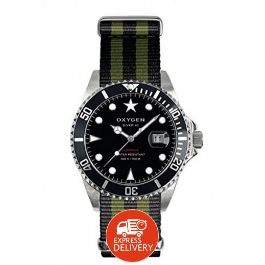 """أكسجين – ساعة """"دايفر"""" للرجال بحزام رمادي/أسود موديل EX-D-MOB-44"""