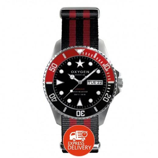 """أكسجين – ساعة """"دايفر"""" للرجال بحزام أحمر/أسود موديل EX-D-SEA-44"""