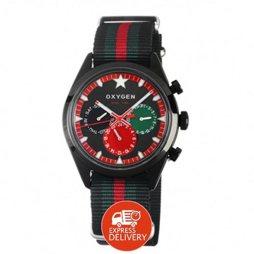 """أكسجين – ساعة """"سبورت"""" لكلا الجنسين بحزام أسود/أخضر/أحمر موديل EX-SDT-ROM-40"""