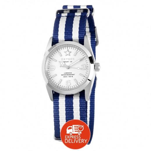 """أكسجين – ساعة """"سبورت"""" للسيدات بحزام أبيض/أزرق موديل EX-S-PAR-34"""